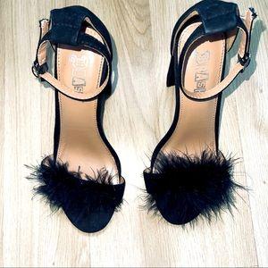 BRASH block fur heels